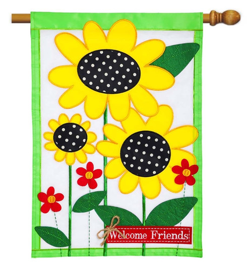 "Sunflowers Applique House Flag - 28"" x 44"" - 2 Sided Message - Evergreen"