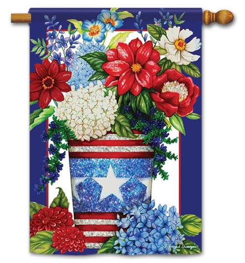 "Patriotic Flowers House Flag - 28"" x 40"" - Flag Trends"
