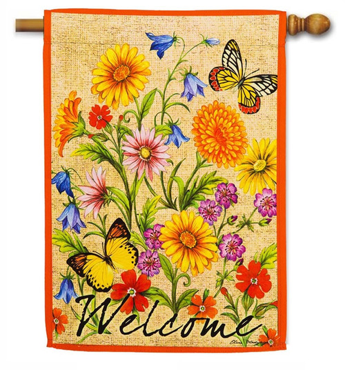 "Wildflowers on Canvas Decorative House Flag - 29"" x 43"" - 2 Sided Message - Evergreen"