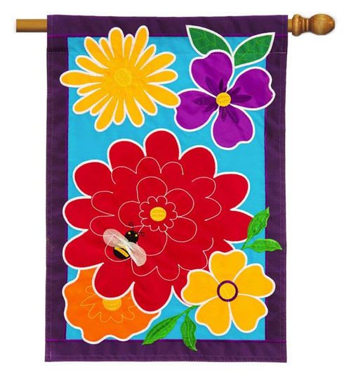 "Springy Flowers Applique House Flag - 28"" x 44"" - Evergreen"