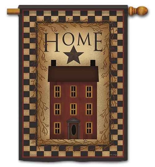 "Saltbox Home House Flag - 28"" x 40"" - Flag Trends - 2 Sided Message"
