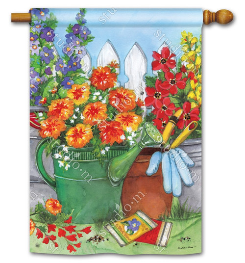 "Vintage Watering Can Summer House Flag - 28"" x 40"" - BreezeArt"