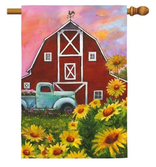 "Big Red Barn Decorative House Flag - 29"" x 43"" - Evergreen"