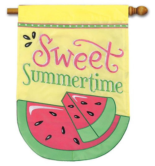 "Sweet Summertime Applique House Flag - 28"" x 40"" - Flag Trends - 2 Sided Message"