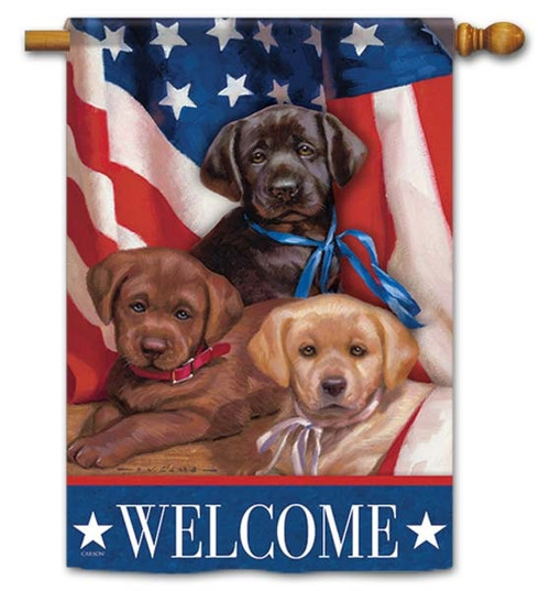 "Patriotic Puppies House Flag - 28"" x 40"" - Flag Trends - 2 Sided Message"