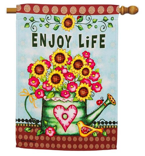 "Enjoy Life Watering Can Decorative House Flag - 29"" x 43"" - 2 Sided Message - Evergreen"
