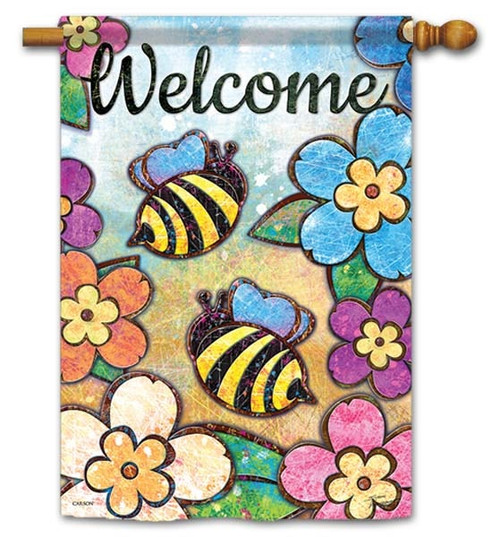 "Bumble Blossoms House Flag - 28"" x 40"" - Flag Trends - 2 Sided Message"
