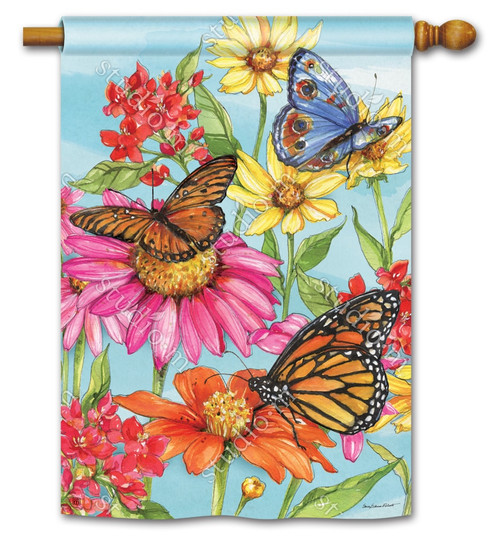 "Field of Butterflies Summer House Flag - 28"" x 40"" - BreezeArt"