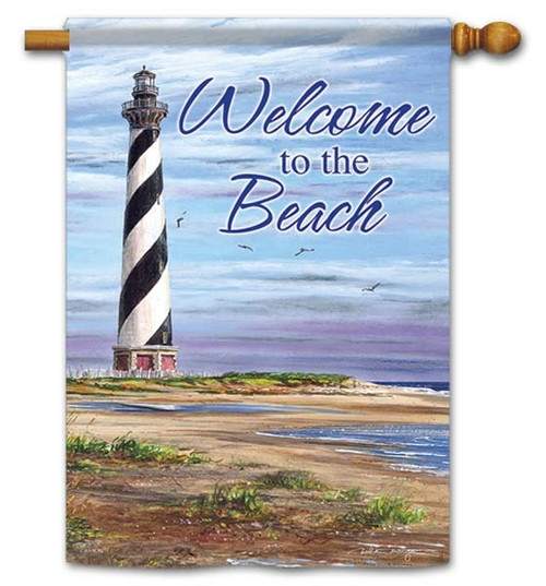 "Welcome To The Beach House Flag - 28"" x 40"" - Flag Trends - 2 Sided Message"