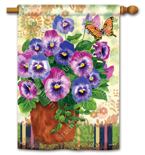 "Pretty Pansies Spring House Flag - 28"" x 40"" - BreezeArt"
