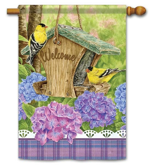 "Finch Feeder House Flag - 28"" x 40"" - Flag Trends - 2 Sided Message"