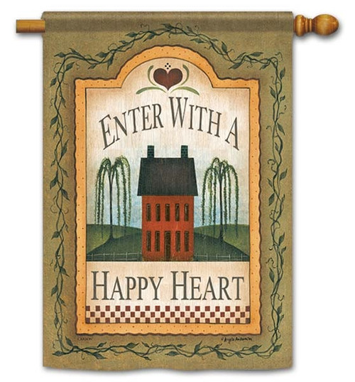 "Happy Heart House Flag - 28"" x 40"" - Flag Trends - 2 Sided Message"