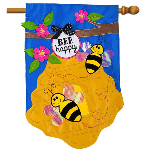 "Bee Happy Applique House Flag - 28"" x 44"" - 2 Sided Message - Evergreen"