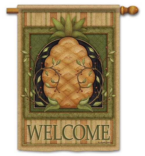 "Pinstripe Pineapple House Flag - 28"" x 40"" - Flag Trends - 2 Sided Message"