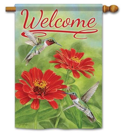 "Zinnias & Hummingbirds House Flag - 28"" x 40"" - Flag Trends - 2 Sided Message"