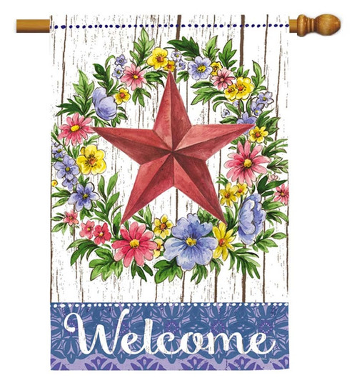 "Summer Country Star Decorative House Flag - 29"" x 43"" - 2 Sided Message - Evergreen"