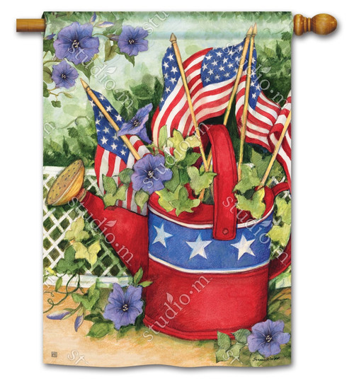 "Patriotic Watering Can Patriotic House Flag - 28"" x 40"" - BreezeArt"