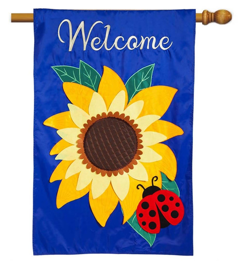 "Sunflower Welcome Applique House Flag - 28"" x 44"" - 2 Sided Message - Evergreen"
