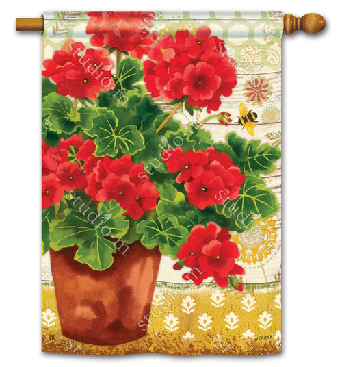 "Potted Geraniums Summer House Flag - 28"" x 40"" - BreezeArt"