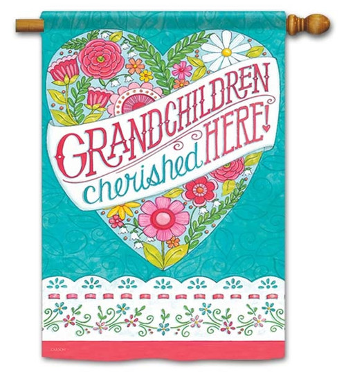 "Grandchildren Cherished House Flag - 28"" x 40"" - Flag Trends - 2 Sided Message"