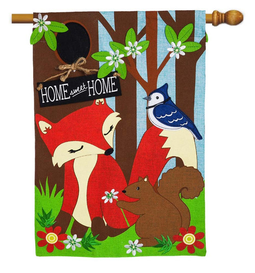 "Woodland Friends Burlap House Flag - 28"" x 44"" - 2 Sided Message - Evergreen"