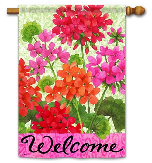 "Joyful Geraniums House Flag - 28"" x 40"" - Flag Trends - 2 Sided Message"