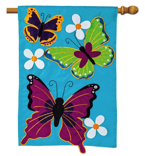 "Summer Butterflies Applique House Flag - 28"" x 44"" - Evergreen"
