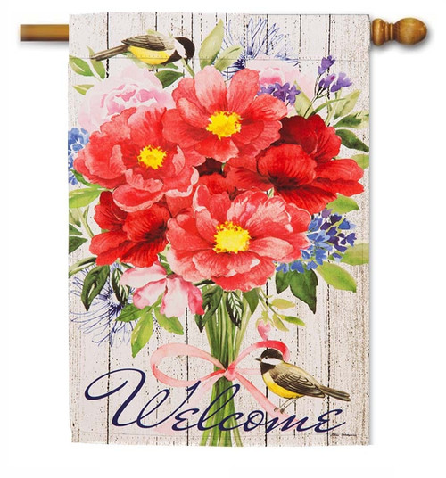 "Peonies Bouquet Decorative House Flag - 29"" x 43"" - 2 Sided Message - Evergreen"