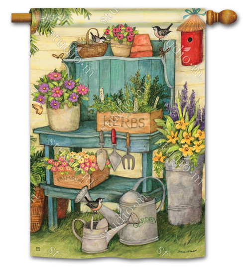 "Planting Time Summer House Flag - 28"" x 40"" - BreezeArt"