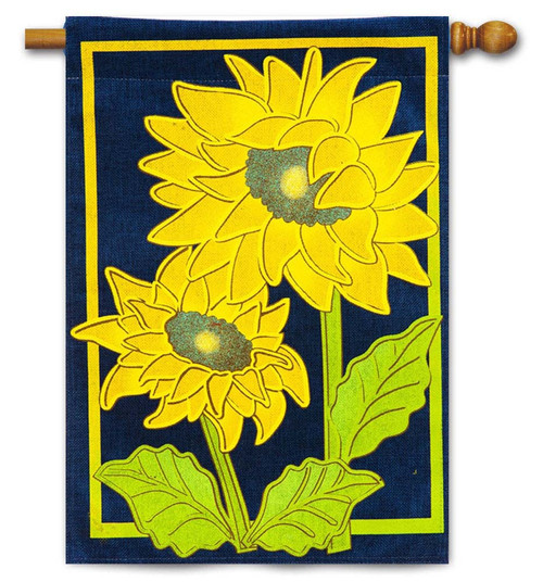 "Sunflower Afternoon Burlap House Flag - 28"" x 44"" - Evergreen"