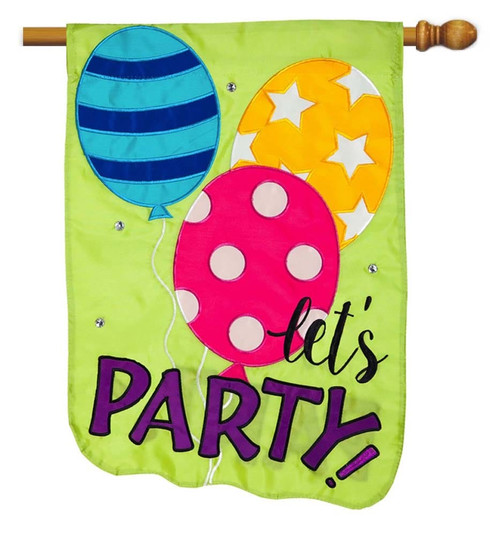"Let's Party Balloons Applique House Flag - 28"" x 44"" - 2 Sided Message - Evergreen"