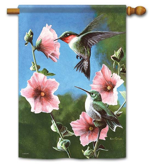 "Pink Blossoms Hummingbirds House Flag - 28"" x 40"" - Flag Trends - 2 Sided Message"