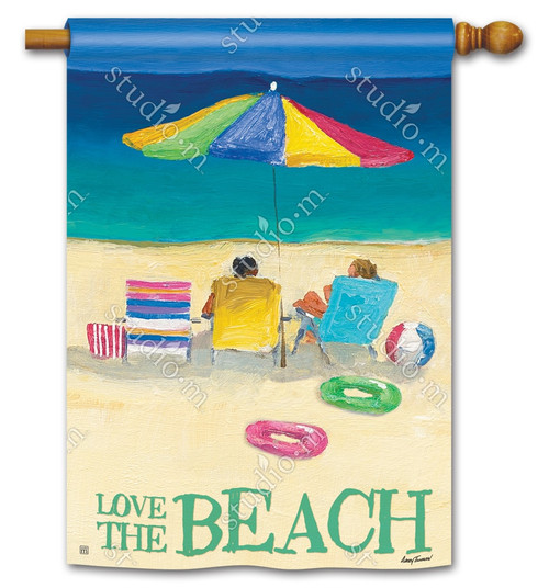 "Love the Beach Summer House Flag - 28"" x 40"" - 2 Sided Message - BreezeArt"