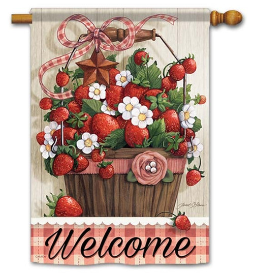 "Summer Strawberries House Flag - 28"" x 40"" - Flag Trends - 2 Sided Message"