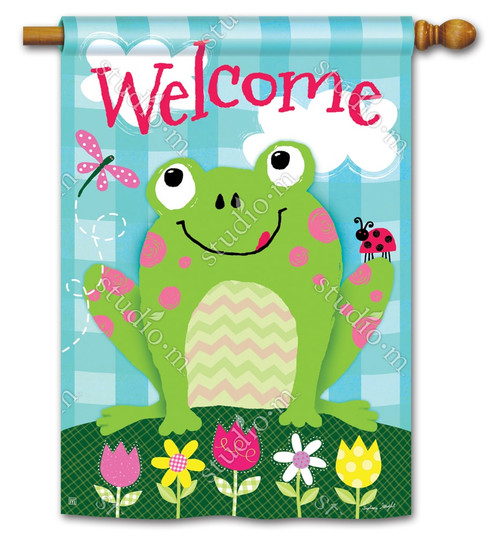 "Happy Frog Summer House Flag - 28"" x 40"" - BreezeArt"