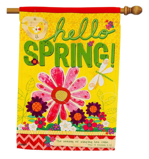 "Hello Spring Decorative House Flag - 29"" x 43"" - 2 Sided Message - Evergreen"