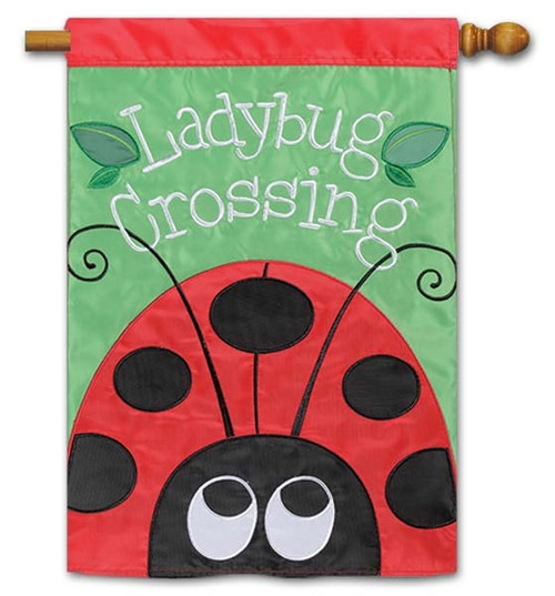 "Ladybug Crossing Applique House Flag - 28"" x 40"" - Flag Trends - 2 Sided Message"