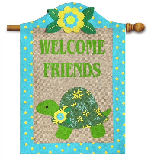 "Turtle Burlap House Flag - 28"" x 44"" - 2 Sided Message - Evergreen"