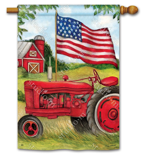 "Patriotic Tractor Summer House Flag - 28"" x 40"" - BreezeArt"