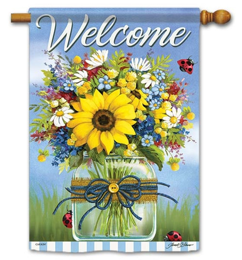"Summer In A Mason Jar House Flag - 28"" x 40"" - Flag Trends - 2 Sided Message"