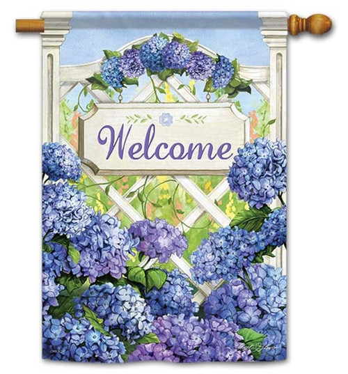 "Garden Gate Hydrangea House Flag - 28"" x 40"" - Flag Trends - 2 Sided Message"