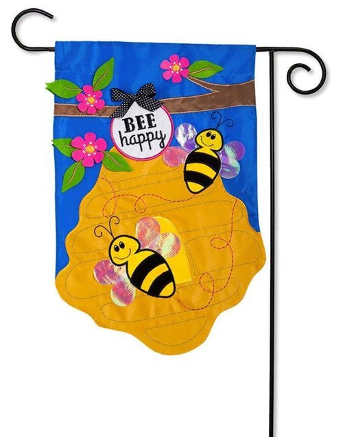 "Bee Happy Applique Garden Flag - 12.5"" x 18"" - 2 Sided Message - Evergreen"
