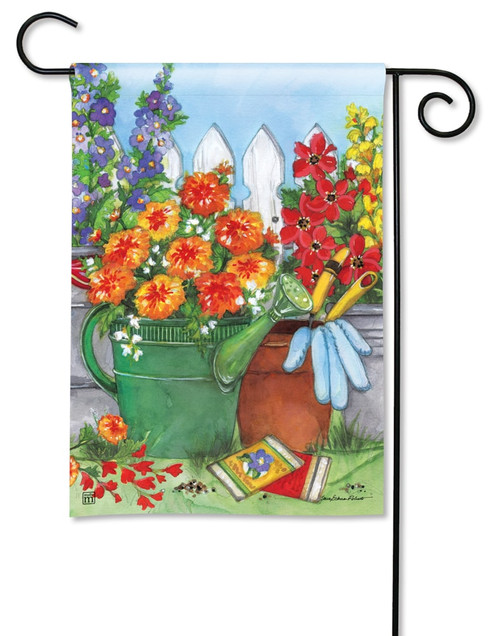 "Vintage Watering Can Summer Garden Flag - 12.5"" x 18"" - BreezeArt"