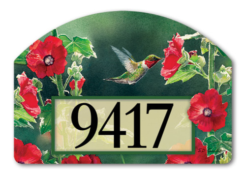 "Hummingbird Delight Yard DeSign Address Sign - 14"" x 10"""