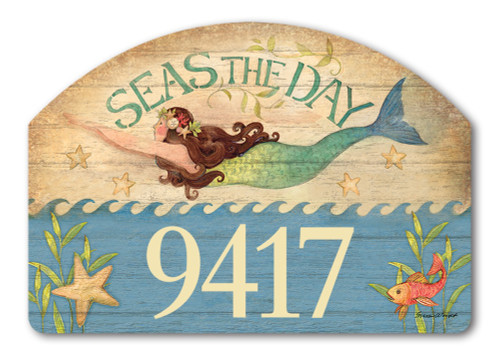 "Mermaid Yard DeSign Address Sign - 14"" x 10"""