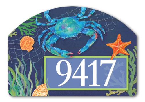 "Blue Crab Yard DeSign Address Sign - 14"" x 10"""