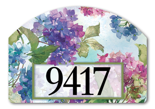 "Hydrangeas Yard DeSign Address Sign - 14"" x 10"""