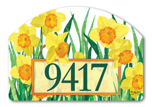 "Daffodils in Bloom Yard DeSign Address Sign - 14"" x 10"""