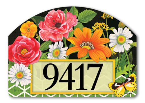 "Fancy Floral Yard DeSign Address Sign - 14"" x 10"""