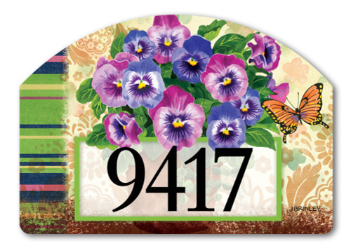 "Pretty Pansies Yard DeSign Address Sign - 14"" x 10"""